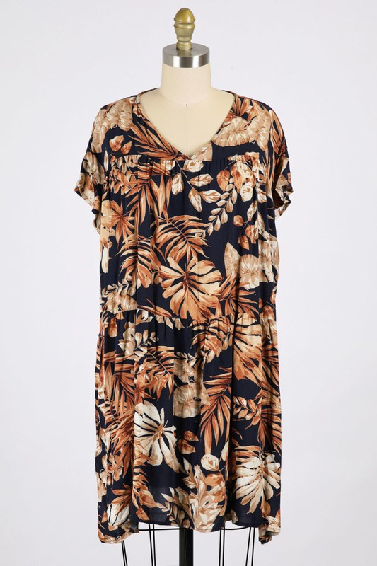 Printed Tiered VNeck Dress