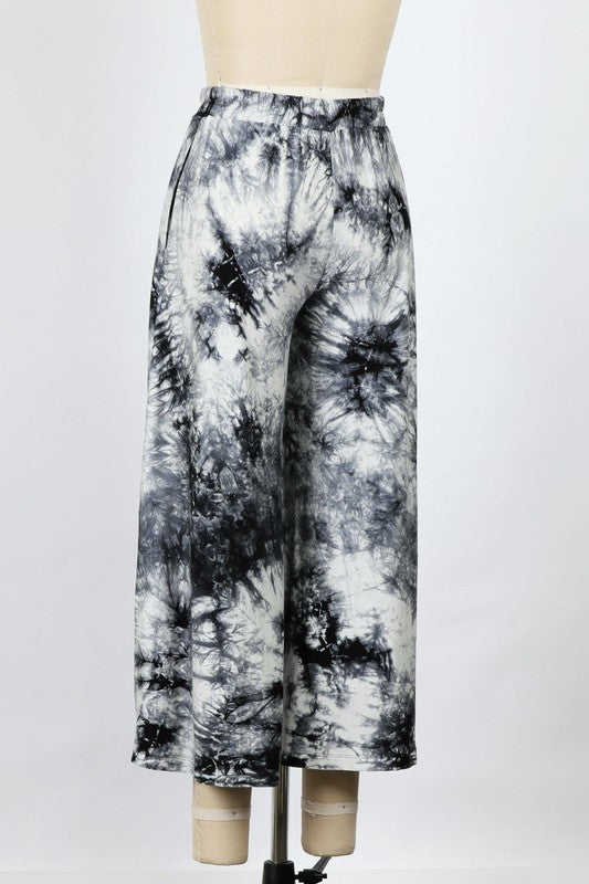 Tie Dye Wide Leg Cropped Pants