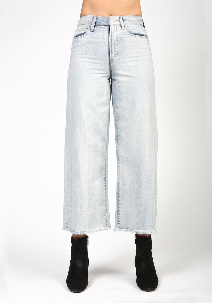 High rise, wide leg, cropped denim
