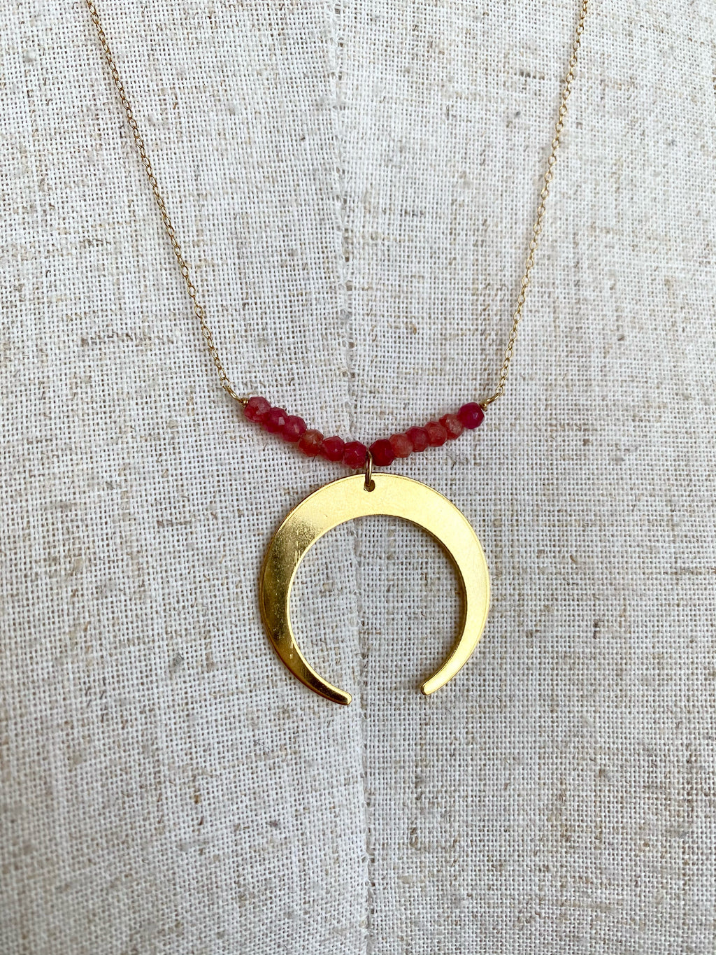 Pink Beaded Moon Necklace