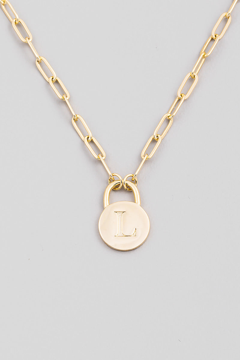Initial Lock Pendant Necklace