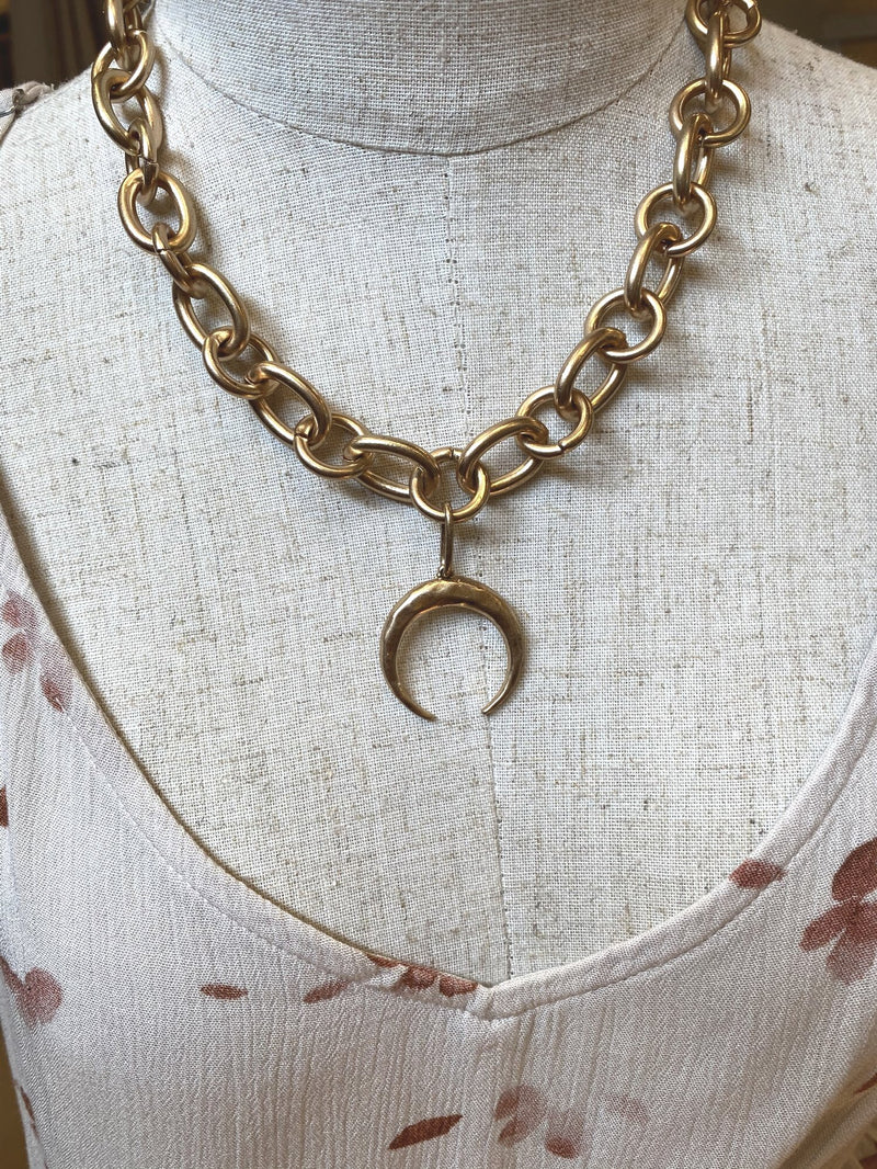 Gold Horn Chain Linked Necklace