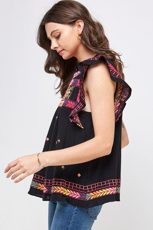 Wing Sleeve Embroidered Detail Top