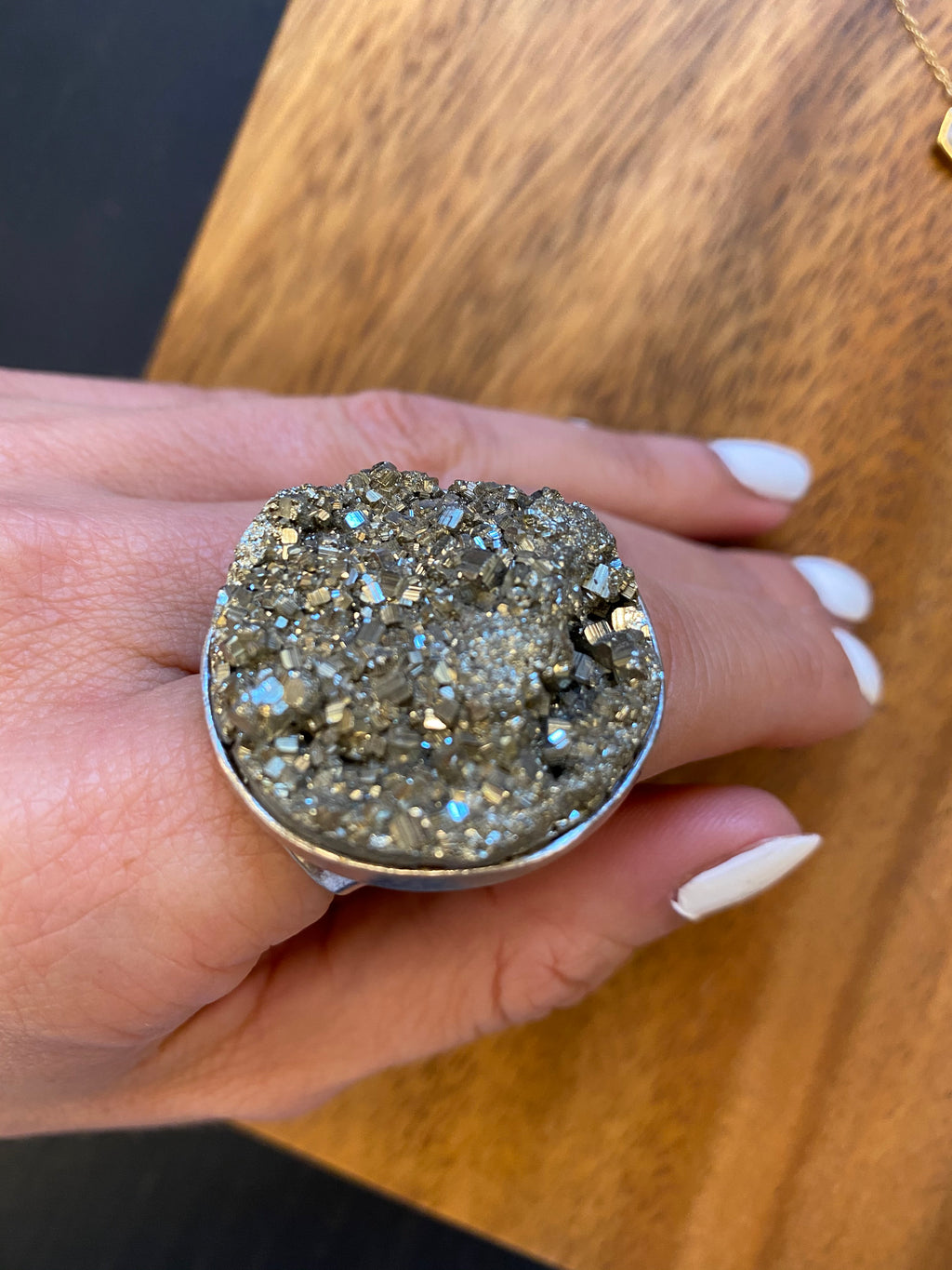 Raw Pyrite Circle Adjustable Ring
