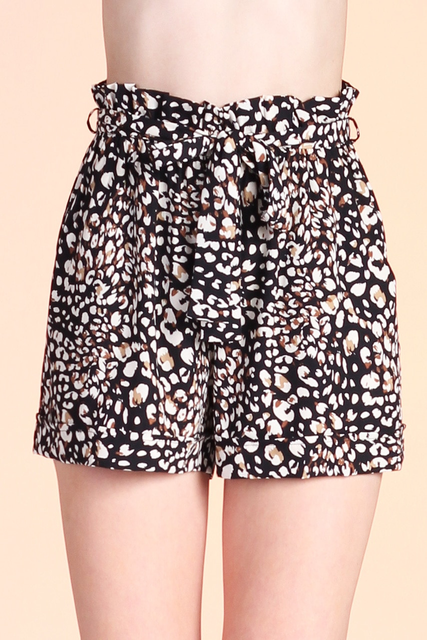Leopard Print Paper Bag Shorts