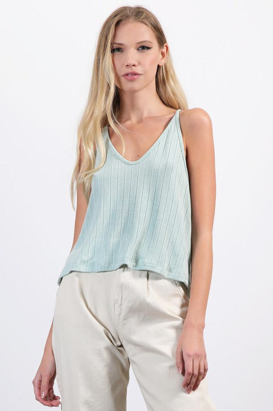 RIBBED KNIT FLOWY V-NECK RACERBACK CAMI TOP