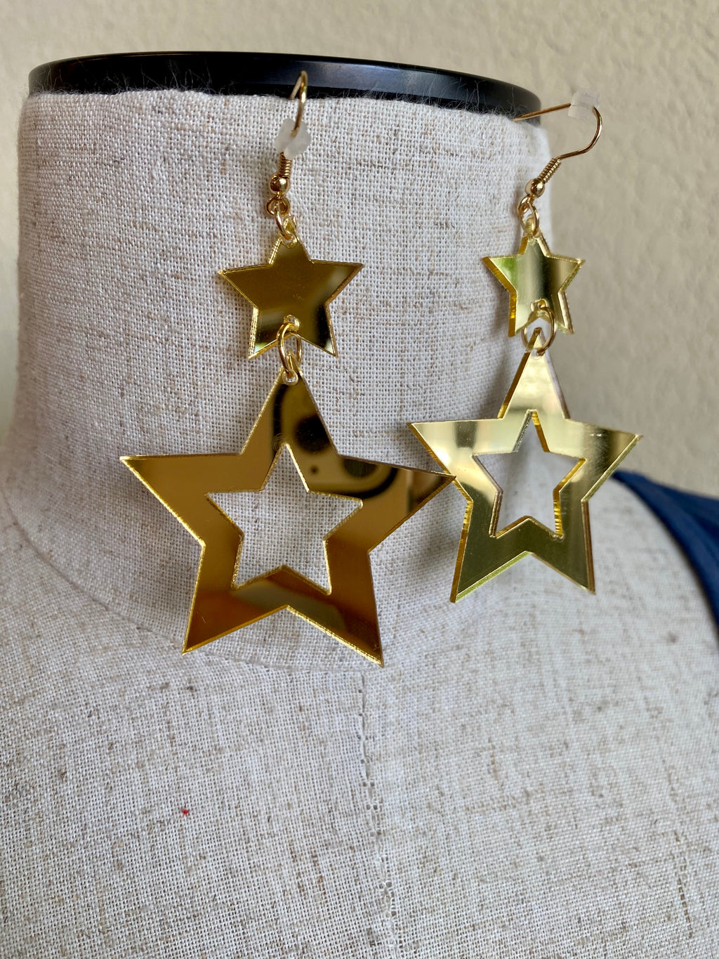 Gold star mirrored earrings