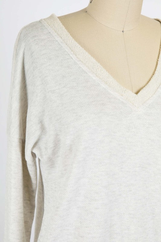 French Terry V-Neck Pullover