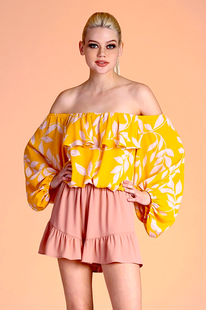Printed Off-Shoulder Balloon Sleeve Top