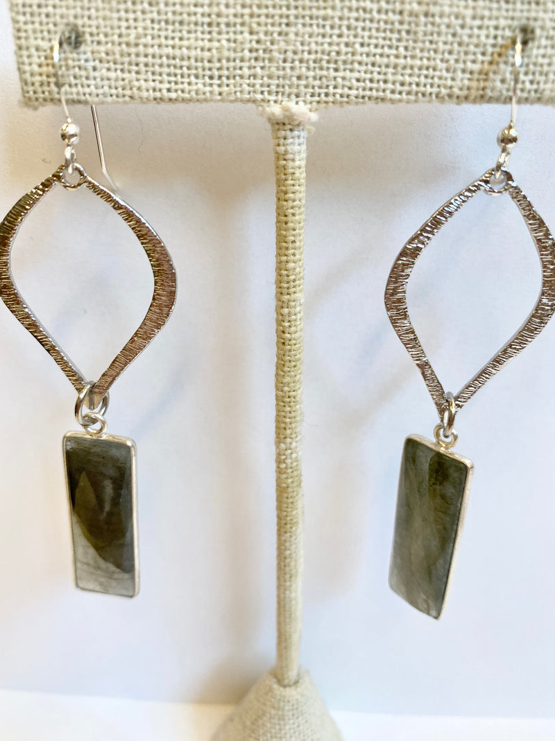Silver Labradorite Tear Earrings