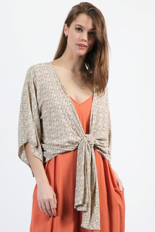 Printed Tie-Front Cardigan