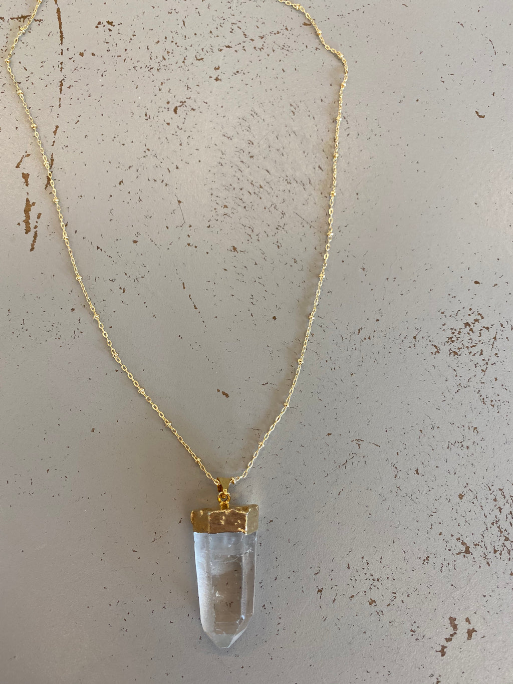 Clear quartz necklace. Boho