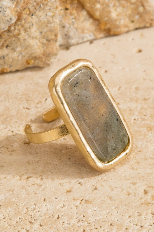 Natural Stone Rectangle Ring