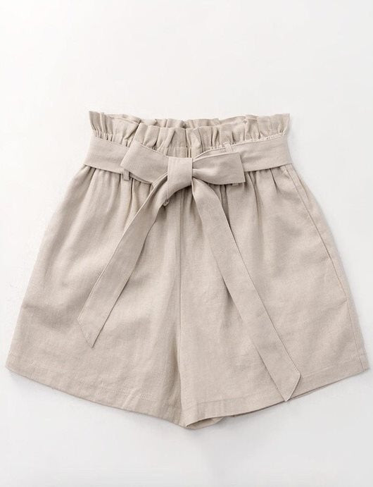 Ribbon Linen Paperbag Shorts