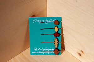 Set of 5 Mix Leaf Bobby Pins
