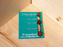 Load image into Gallery viewer, Set of 5 Mix Leaf Bobby Pins