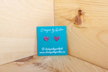 Load image into Gallery viewer, Pink Glitter Heart Studs
