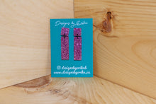 Load image into Gallery viewer, 2 Tier Pink Glitter Studs