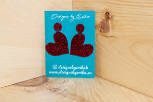 Red 2 Tier Glitter Heart Studs