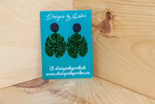 Load image into Gallery viewer, 2 Tier Glitter Monstera Studs