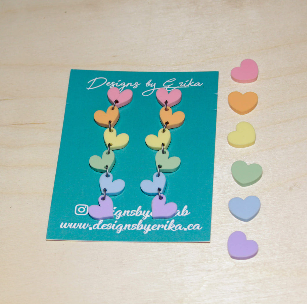 6 Tier Pastel Rainbow Heart Studs