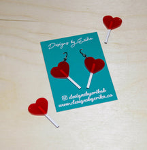 Load image into Gallery viewer, Red Heart Lollipop Dangles