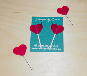 Large Pink Heart Lollipop Dangles