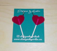 Load image into Gallery viewer, Large Pink Heart Lollipop Dangles