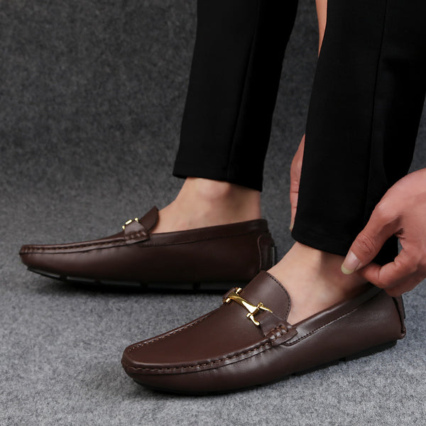 GLAZOV Italian Mens Shoes Casual Brands Slip On Formal Luxury Shoes Men Loafers Moccasins Genuine Leather Brown Driving Shoes