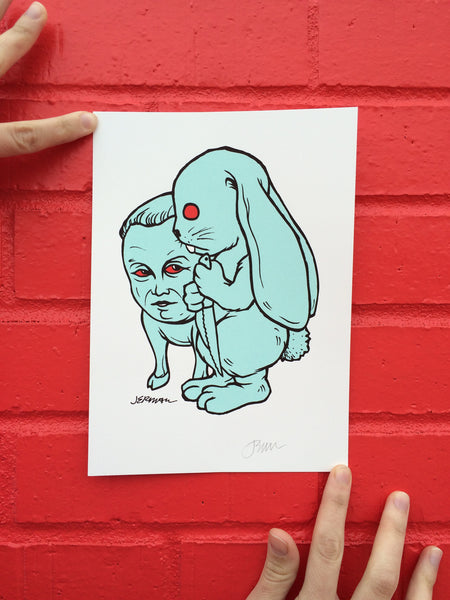 "Jermaine Rogers ""Squire + Knife Bunny"" Mini Print"