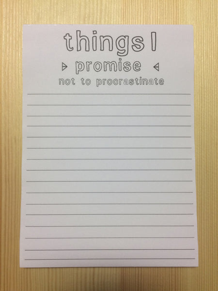 Fox & Wit Things I Promise Notepad