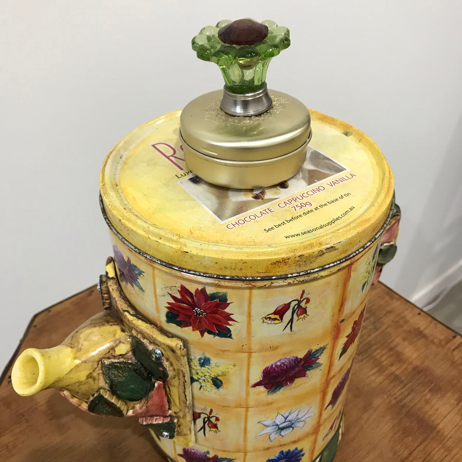 Fiona the Collector Tin Teapot: Flower Power
