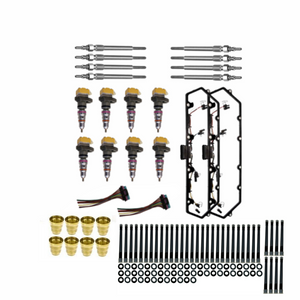 Injector, Valve Cover Gasket, Glow Plugs, Sleeves, and Head Stud kit for 7.3L Ford Powerstroke