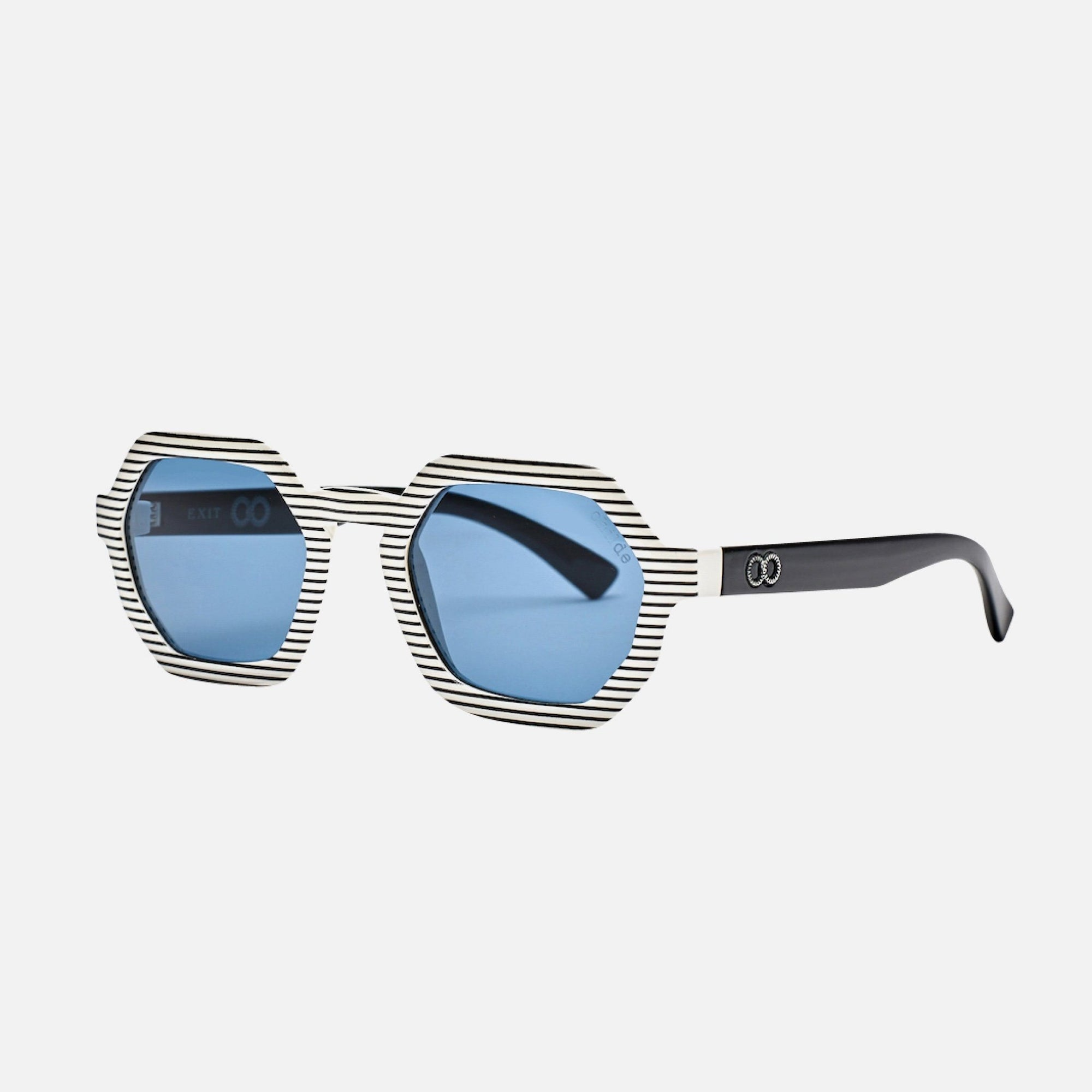 EXIT Tabloid Black/White Stripe | Blue Telluric Lens
