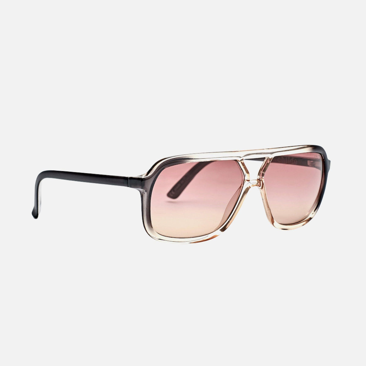 TREBLE Gloss Black Fade to Translucent Rose | Rose Vital Gradient Lens