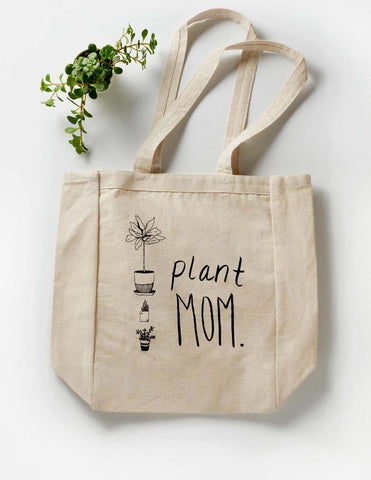 Reusable Canvas Plant Mom Tote for Plant Lovers Mother's Day Gifts