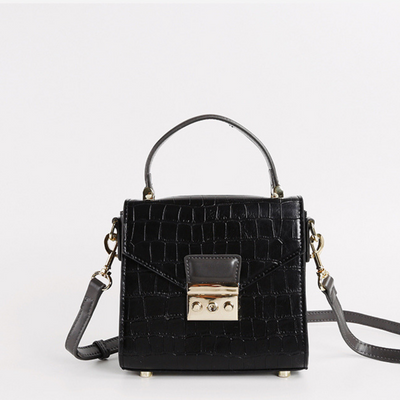 Camila Top Handle Bag - Black Croc