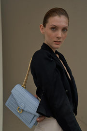 The Envelope Chain Crossbody - Ice Croc