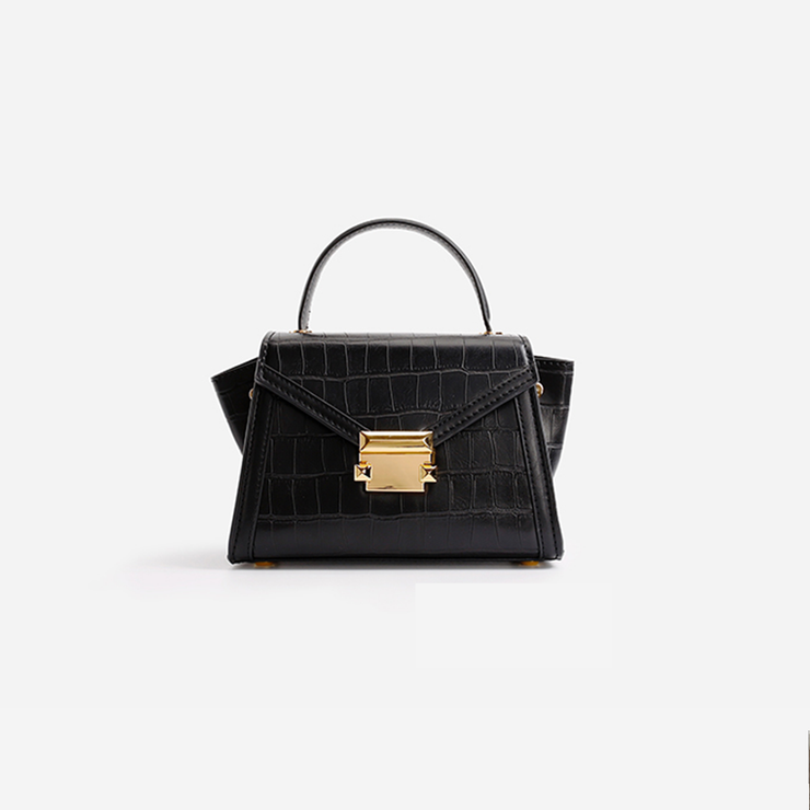 Alina Top Handle Bag - Black Croc