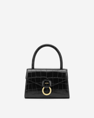 Stella Top Handle Bag - Black Croc