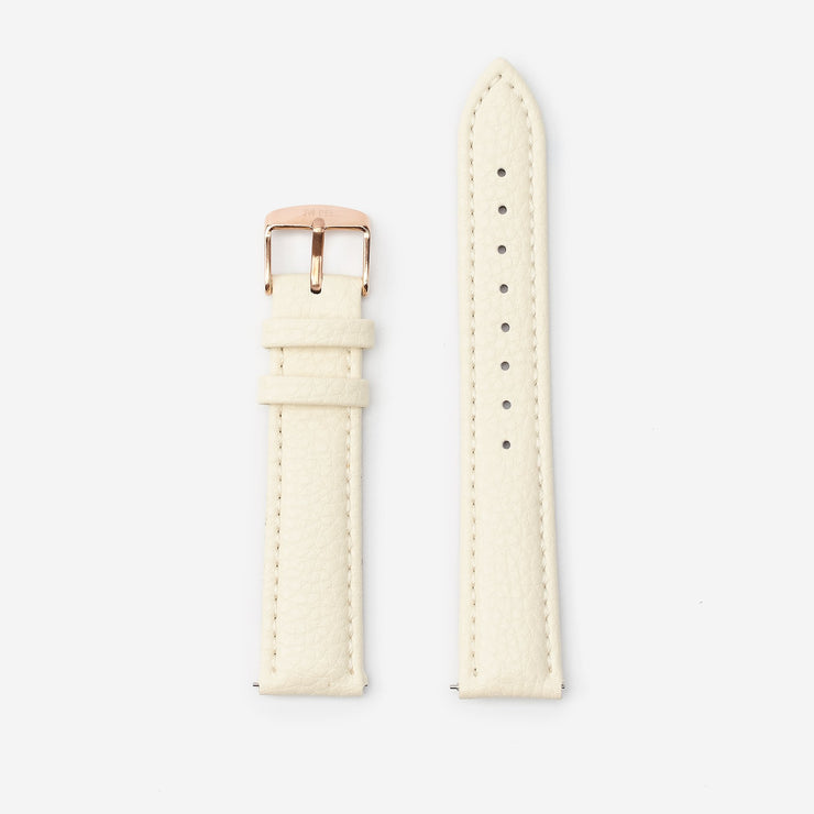 18 mm Vegan Leather Watch Strap - Ivory