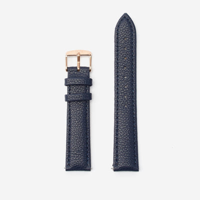18 mm Vegan Leather Watch Strap - Navy