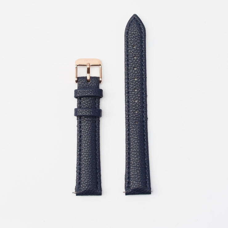 16 mm Vegan Leather Watch Strap - Navy