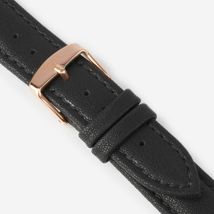 18 mm Vegan Leather Watch Strap - Black