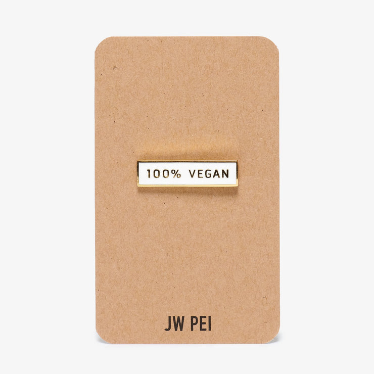 100% Vegan Pin - White