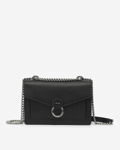 The Envelope Silver Chain Crossbody Bag - Black