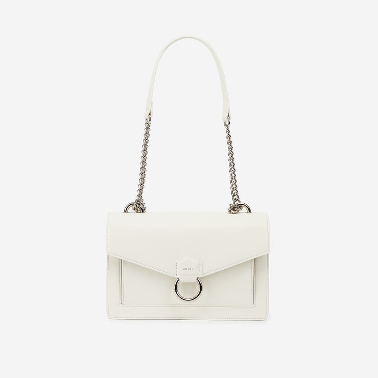 The Envelope Chain Crossbody - White
