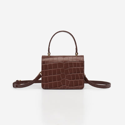 Mini Square Top Handle Bag - Brown Croc