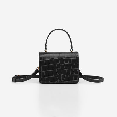 Mini Square Top Handle Bag - Black Croc