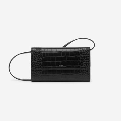The Flap Wallet - Black Croc
